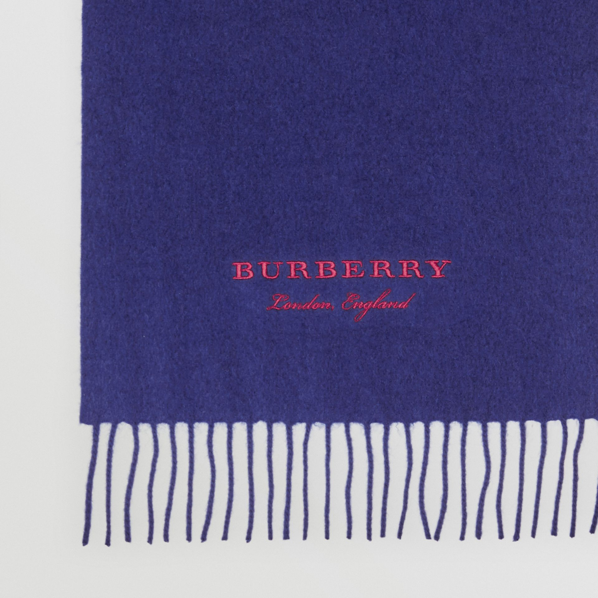 Embroidered Cashmere Fleece Scarf in Bright Navy | Burberry United Kingdom - gallery image 1