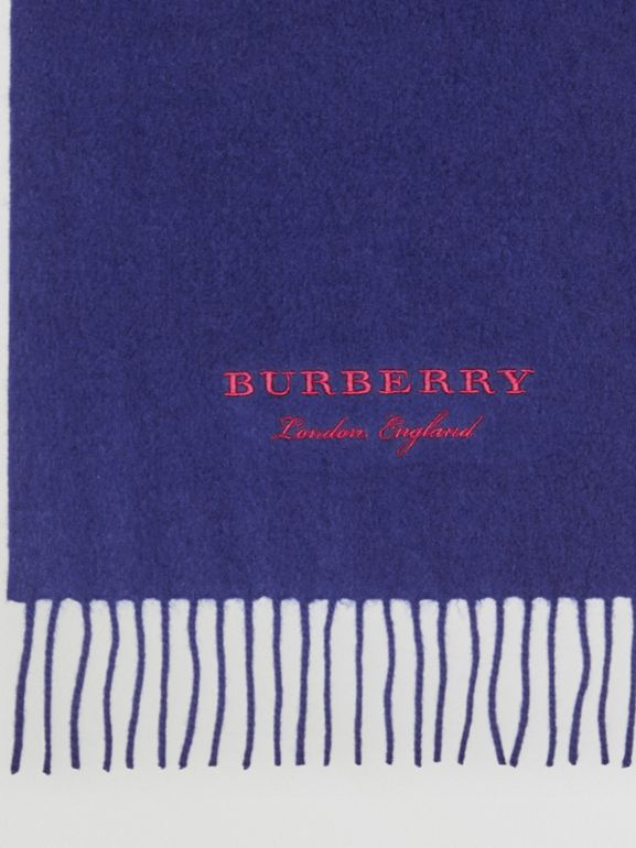 Embroidered Cashmere Fleece Scarf in Bright Navy | Burberry Canada - cell image 1