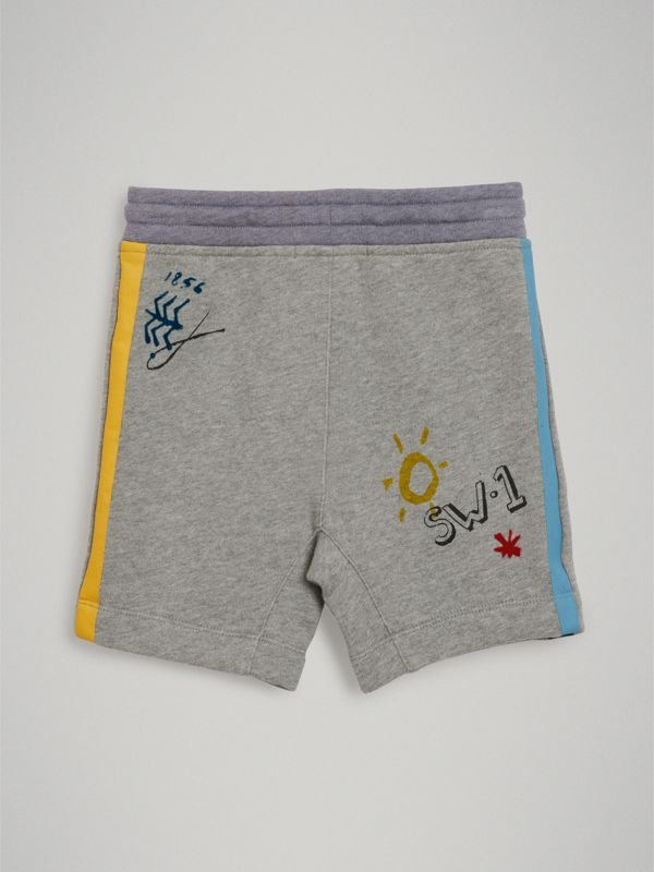 Sketch Print Cotton Drawcord Shorts in Grey Melange - Boy | Burberry - cell image 3