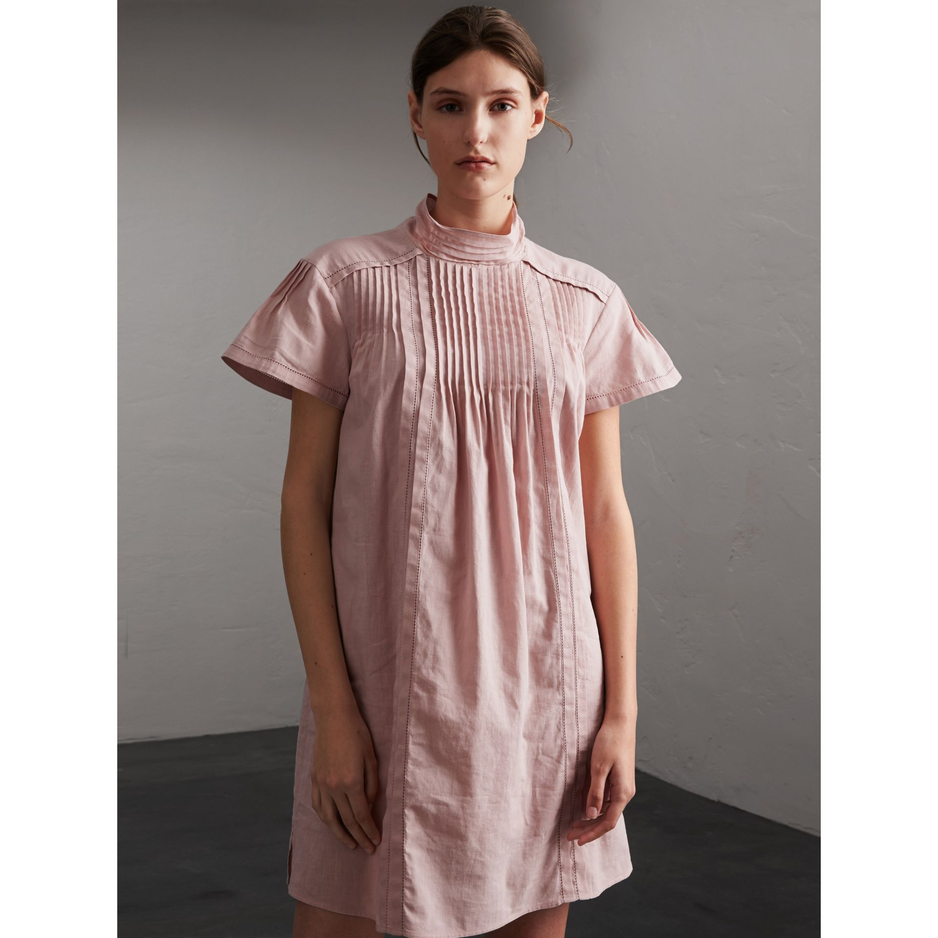 Pintuck Pleated Linen Cotton Dress in Thistle Pink - Women | Burberry - gallery image 1