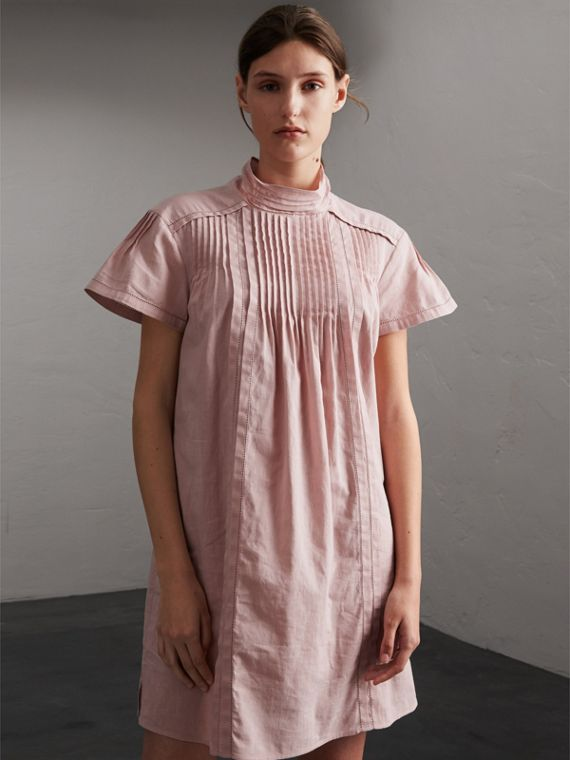 Pintuck Pleated Linen Cotton Dress - Women | Burberry