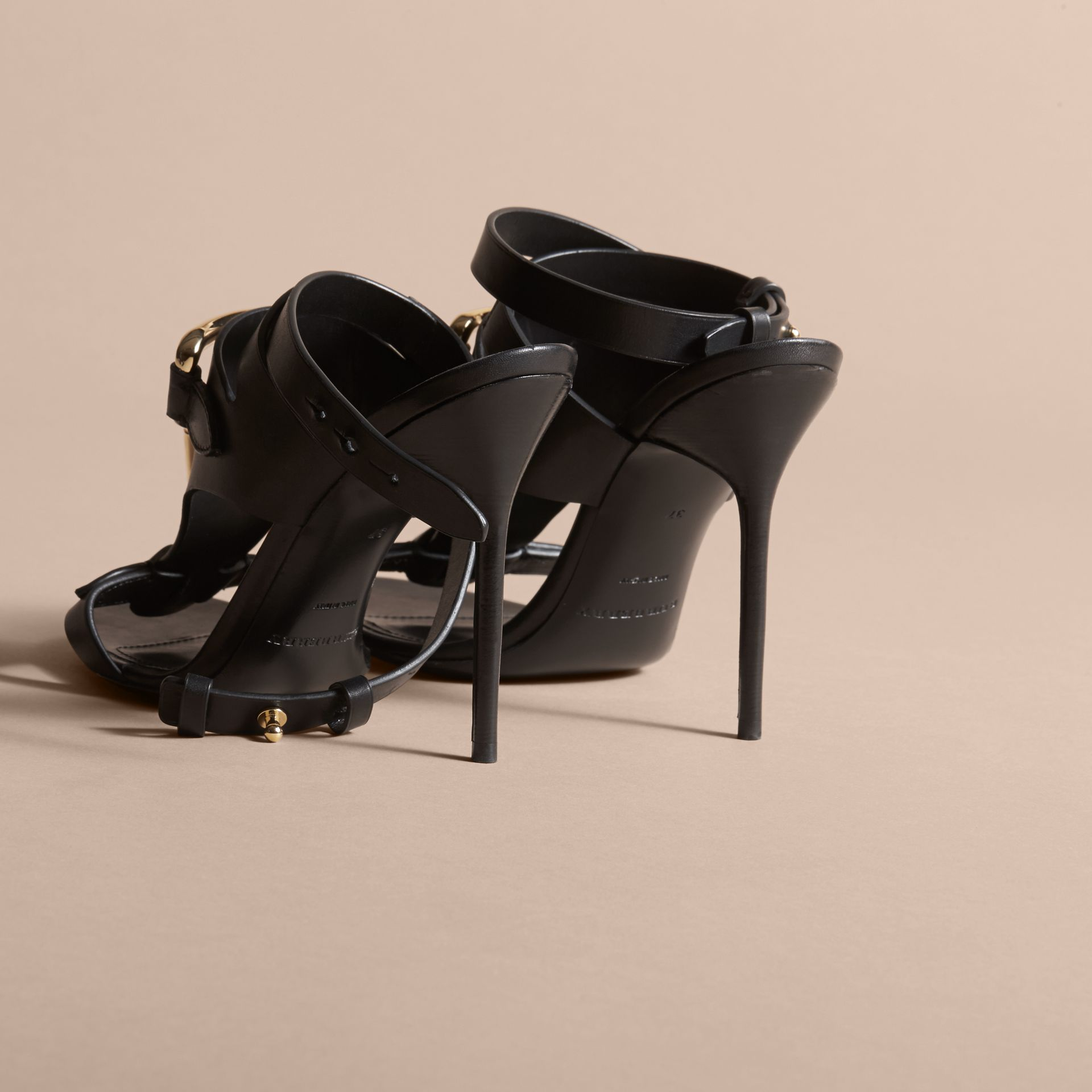 Equestrian Detail Leather High-heel Sandals in Black - Women | Burberry - gallery image 3