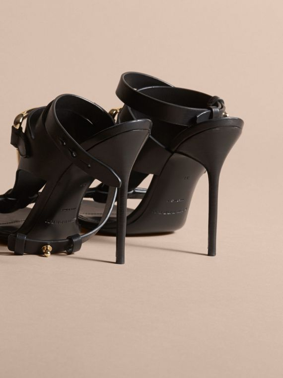 Equestrian Detail Leather High-heel Sandals in Black - Women | Burberry Singapore - cell image 3
