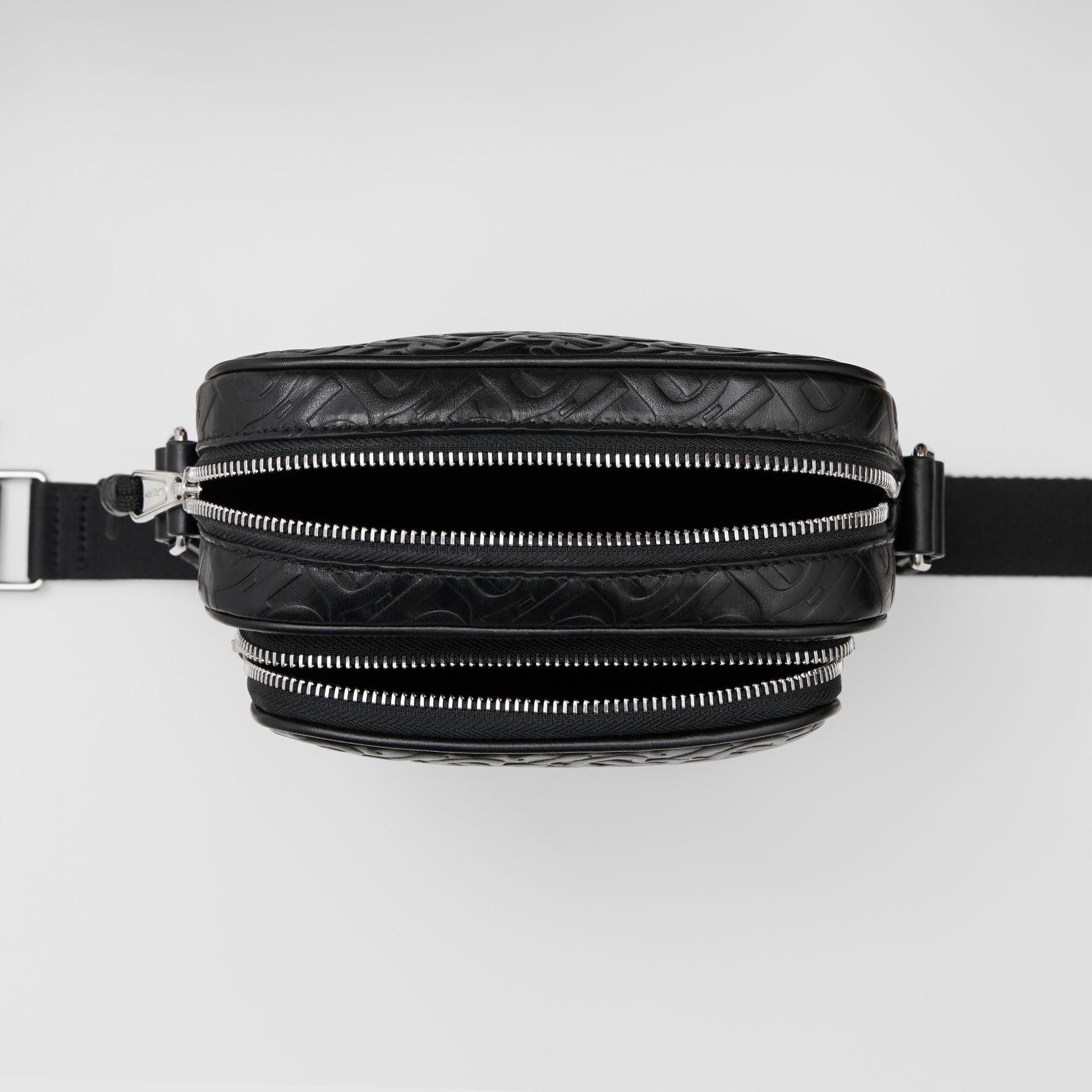 Monogram Leather Crossbody Bag in Black - Men | Burberry Canada - gallery image 5
