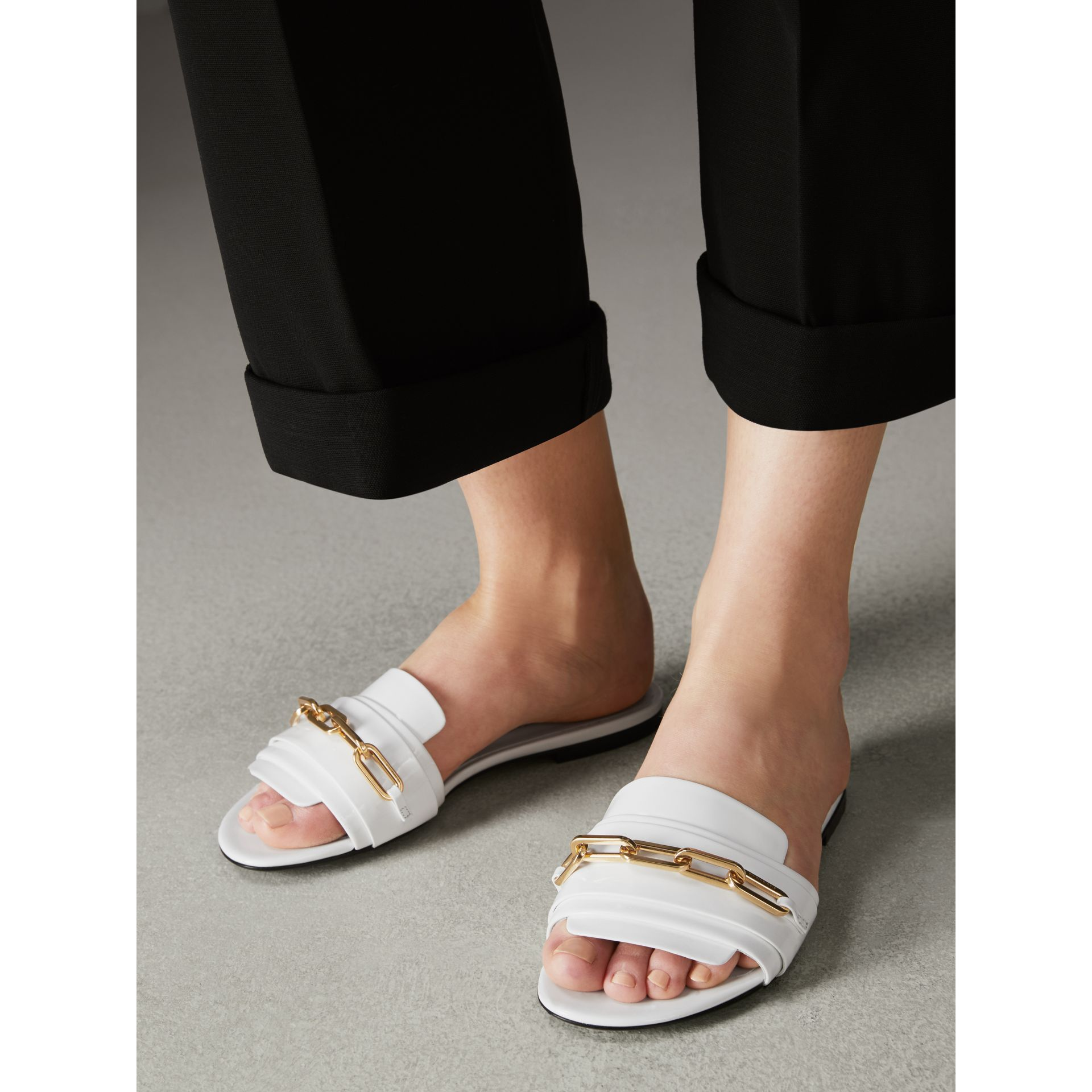 Link Detail Patent Leather Slides in Optic White - Women | Burberry United Kingdom - gallery image 2