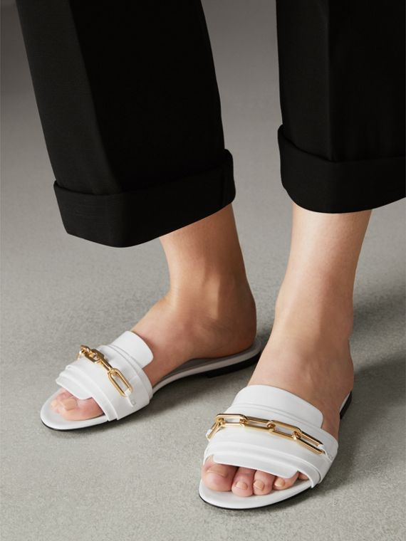 Link Detail Patent Leather Slides in Optic White - Women | Burberry Canada - cell image 2
