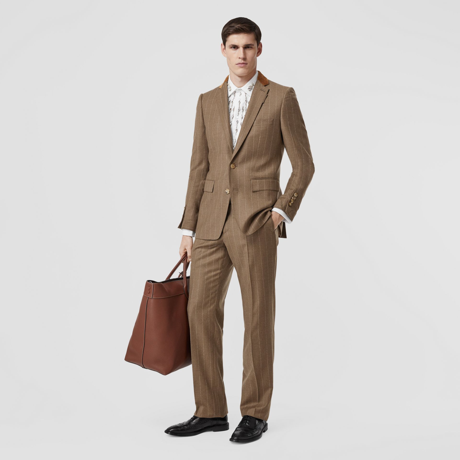 Classic Fit Velvet Trim Wool Cashmere Trousers in Dark Tan - Men | Burberry Australia - gallery image 0