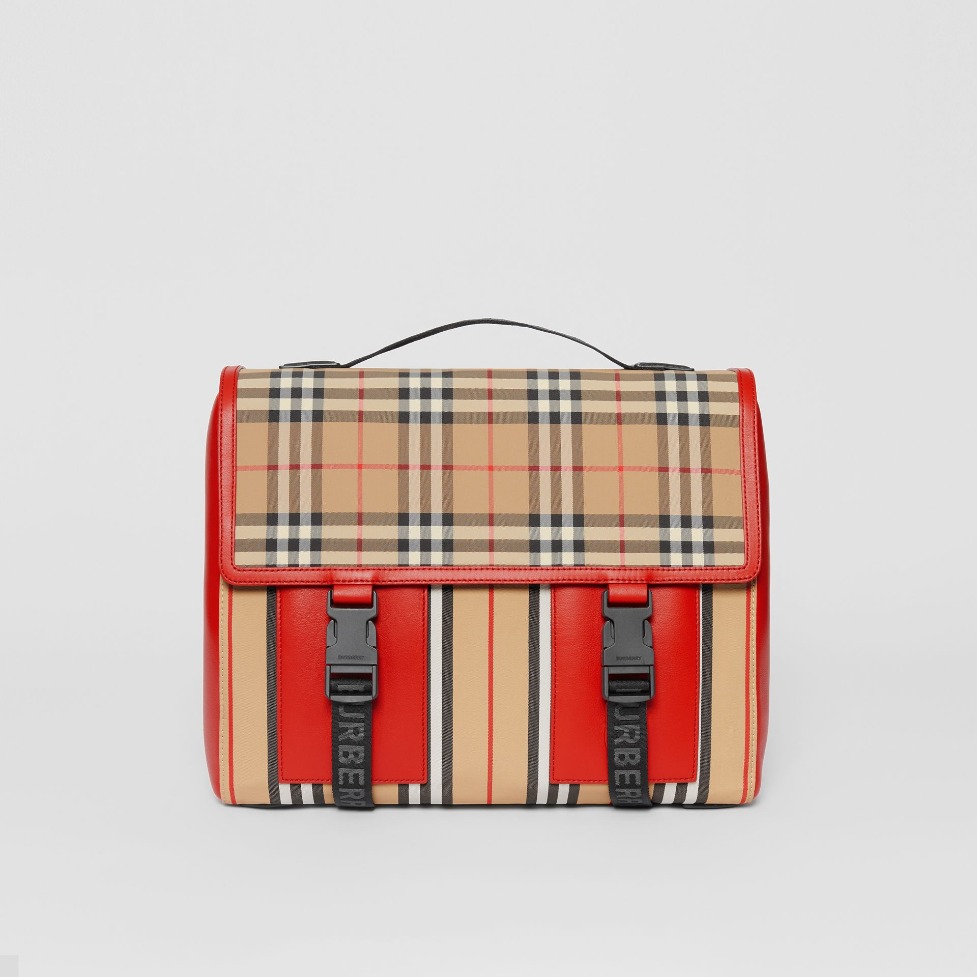 Vintage Check and Icon Stripe Nylon Backpack in Bright Military Red - Children | Burberry - gallery image 0