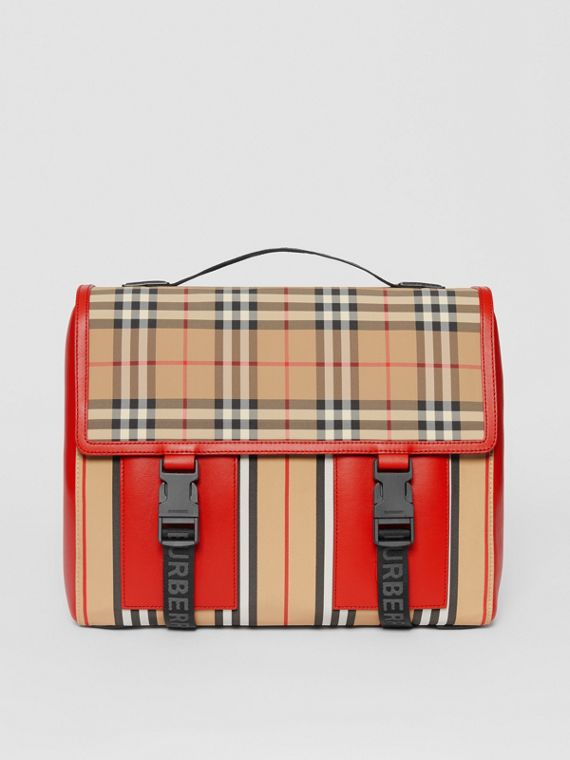 Vintage Check and Icon Stripe Nylon Backpack in Bright Military Red