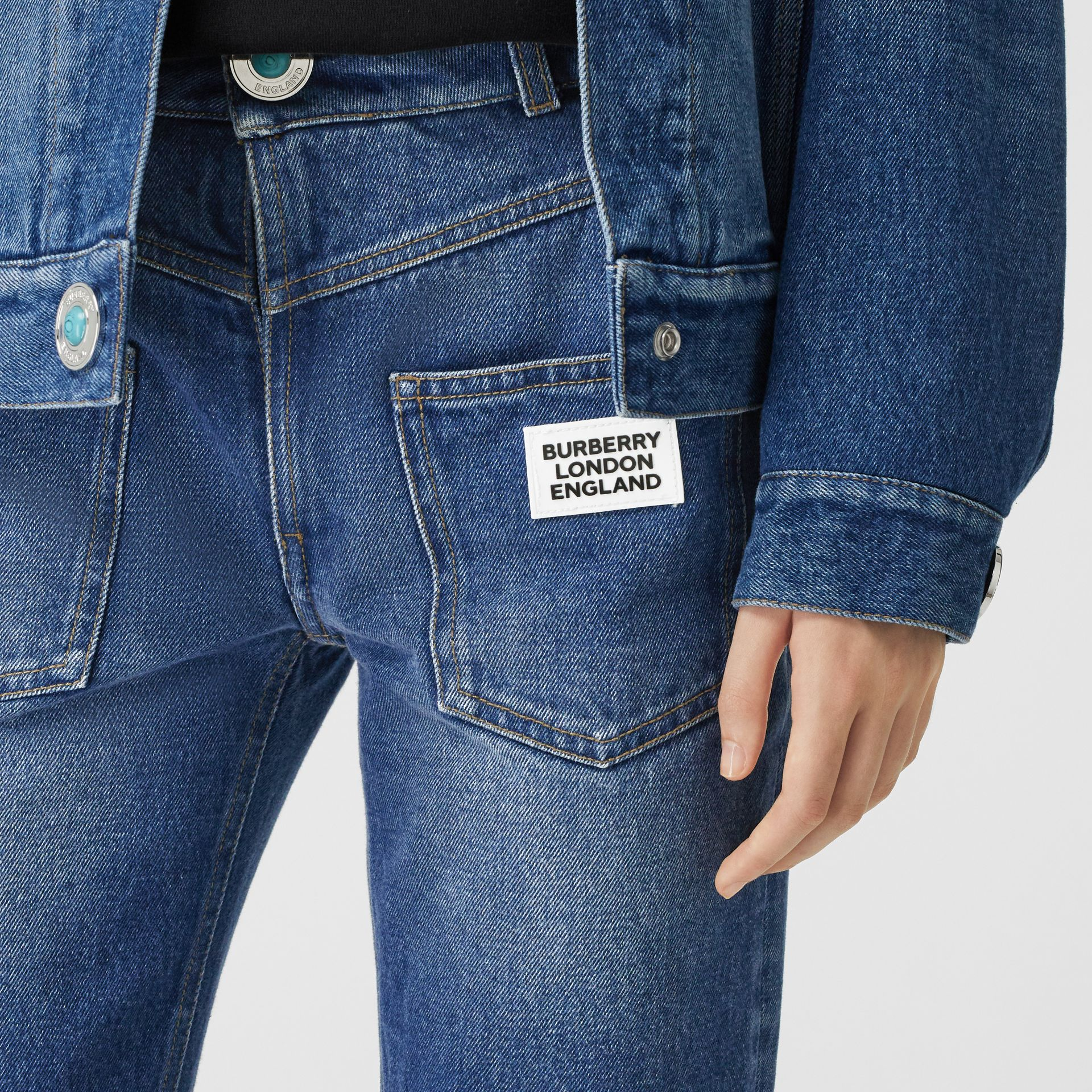 Straight Fit Logo Detail Reconstructed Jeans in Indigo - Women | Burberry United Kingdom - gallery image 4