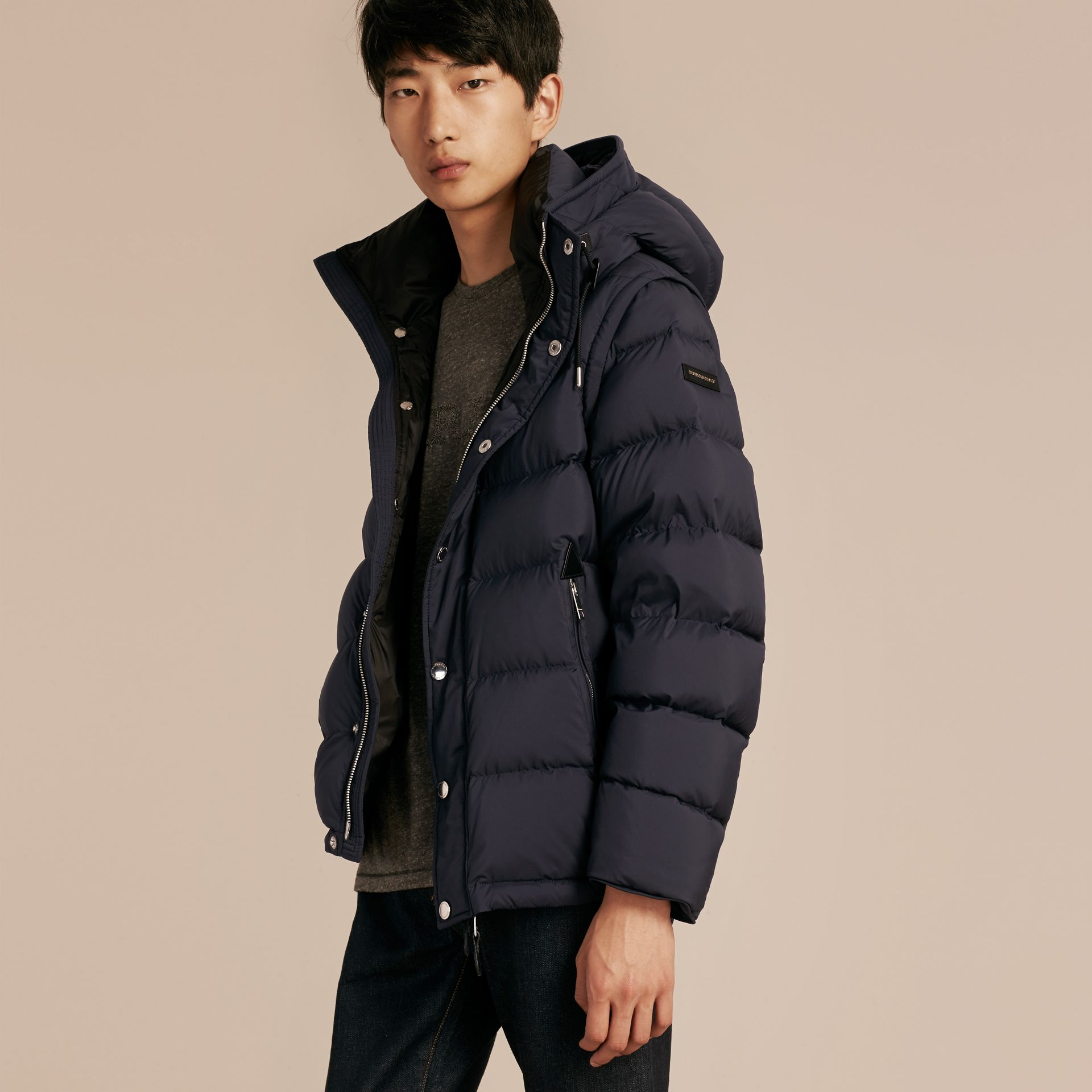 Navy Down-filled Hooded Jacket with Detachable Sleeves Navy - gallery image 7