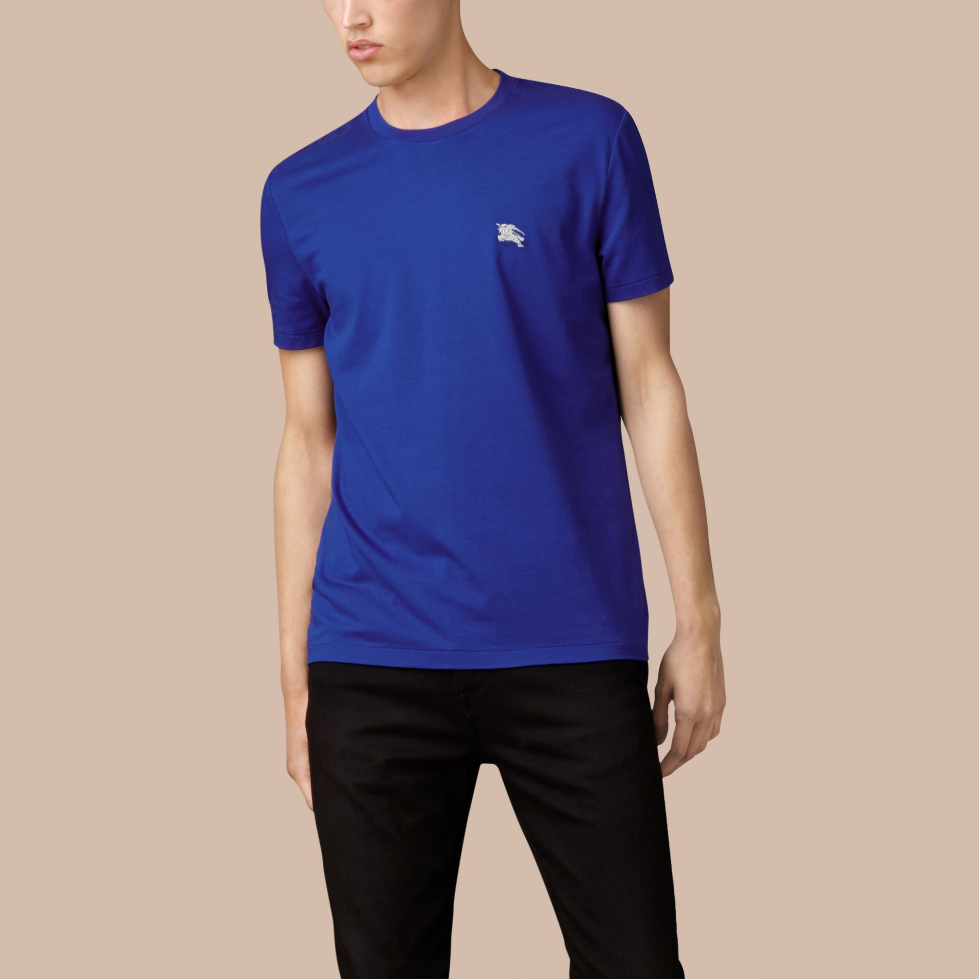 Cotton Jersey T-shirt in Bright Lapis - Men | Burberry - gallery image 4
