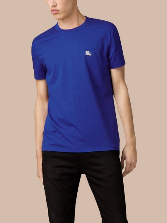 Cotton Jersey T-shirt in Bright Lapis - Men | Burberry Singapore - cell image 3