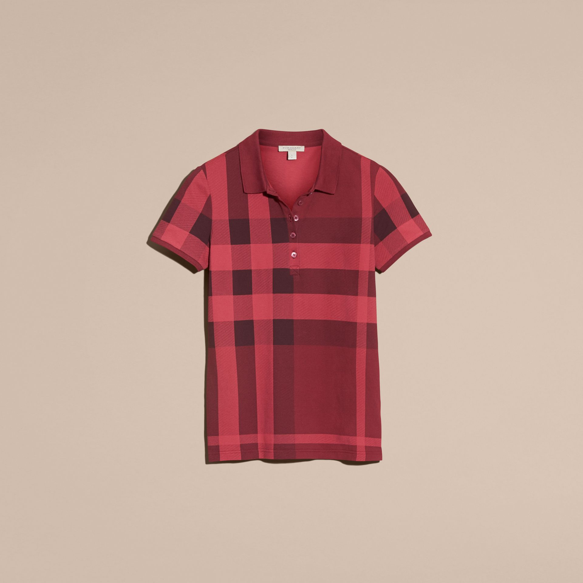 Check Stretch Cotton Piqué Polo Shirt in Peony Rose - gallery image 4