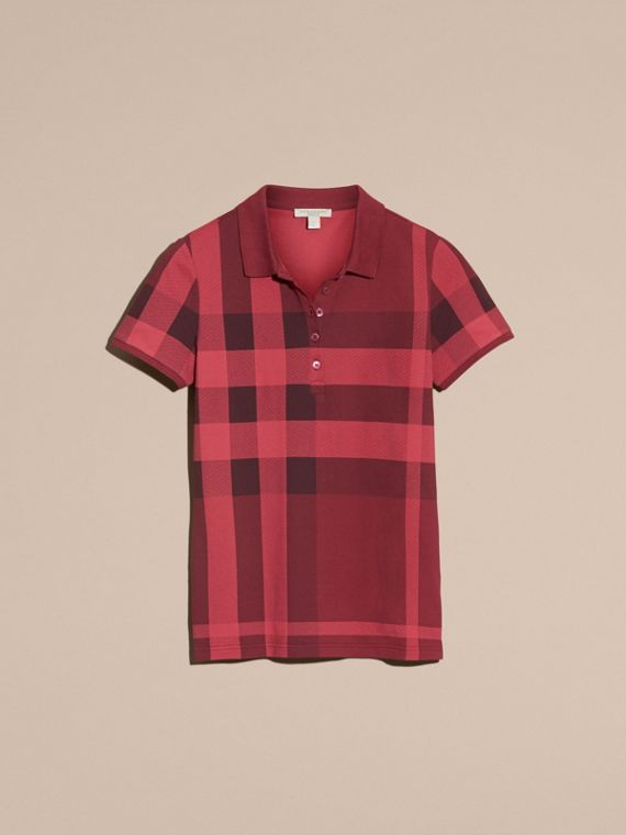 Peony rose Check Stretch Cotton Piqué Polo Shirt Peony Rose - cell image 3