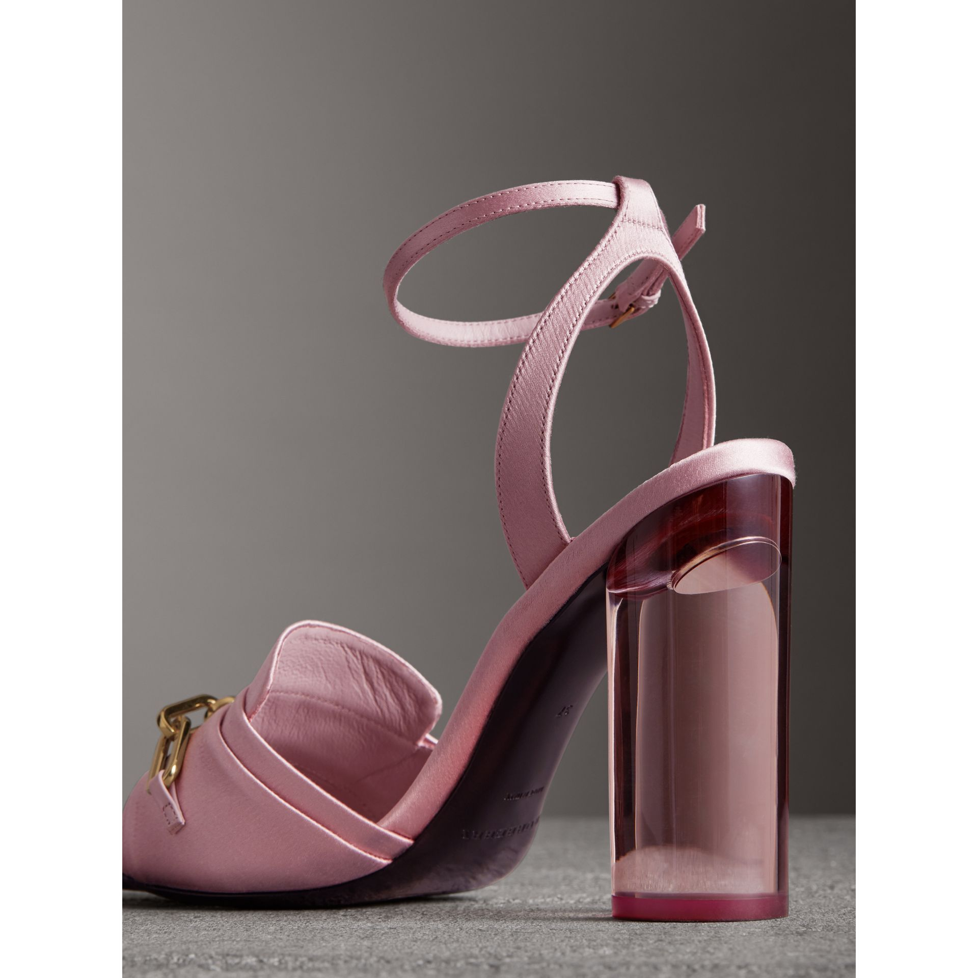 Link Detail Perspex Heel Satin Sandals in Light Pink Melange - Women | Burberry - gallery image 3