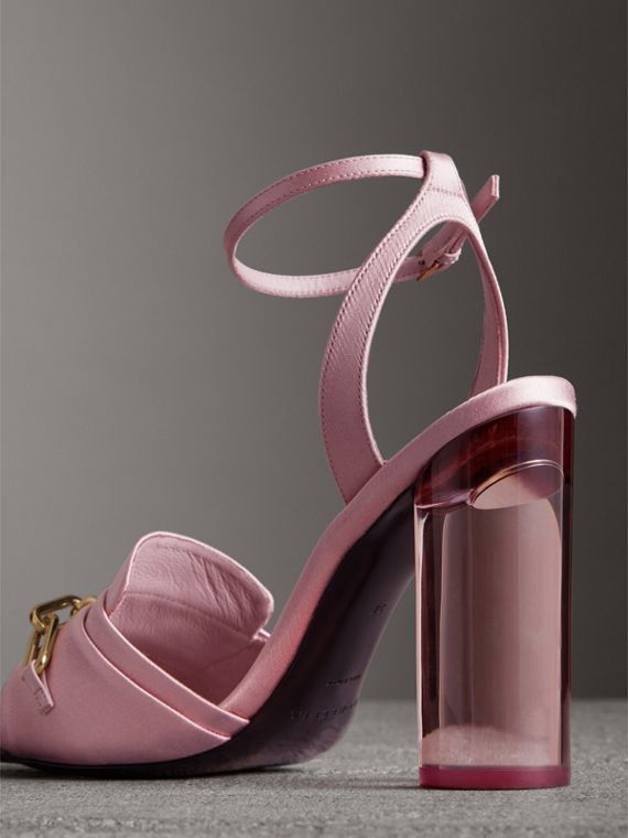 Link Detail Perspex Heel Satin Sandals in Light Pink Melange - Women | Burberry Canada - cell image 3