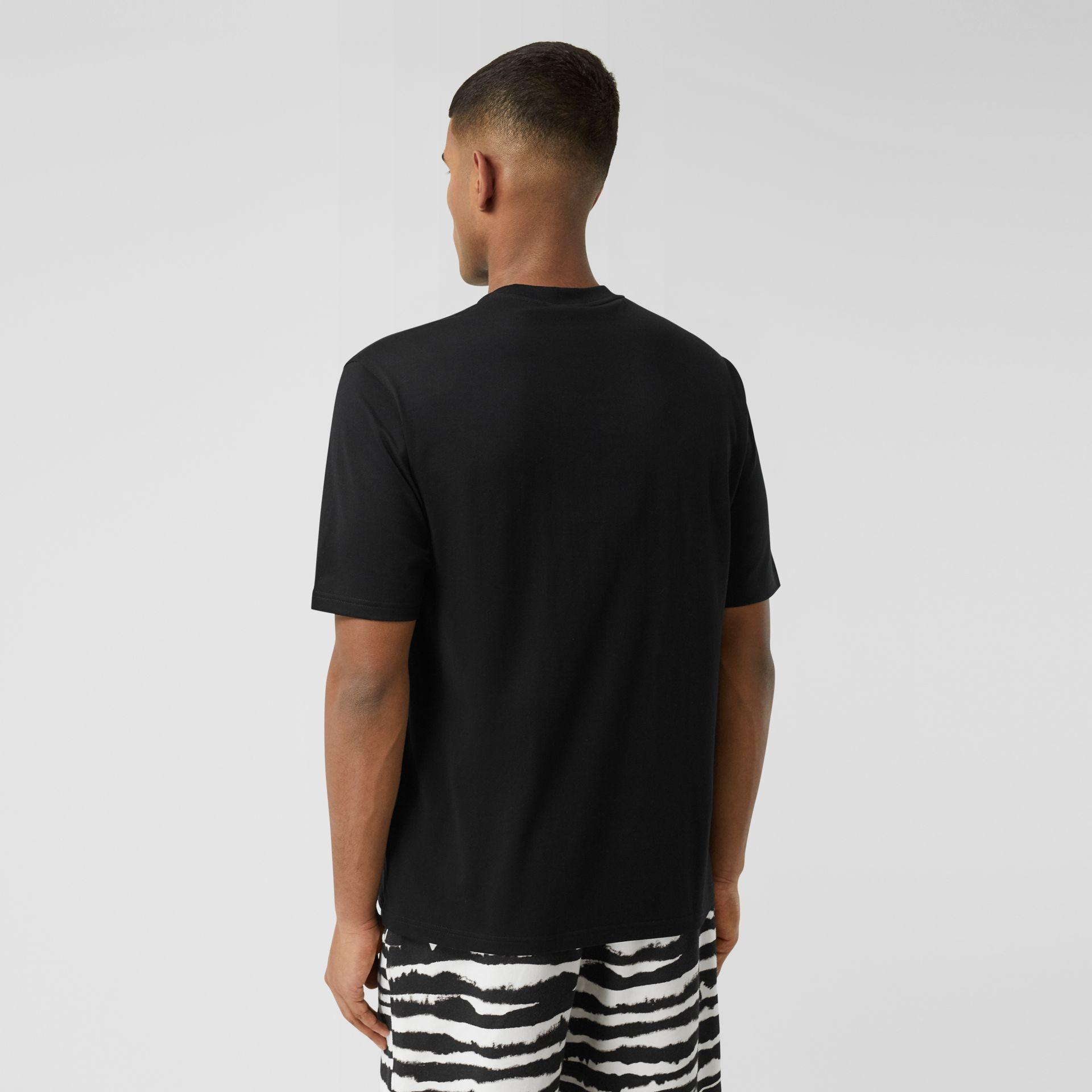 Logo Print Cotton T-shirt in Black - Men | Burberry - gallery image 2