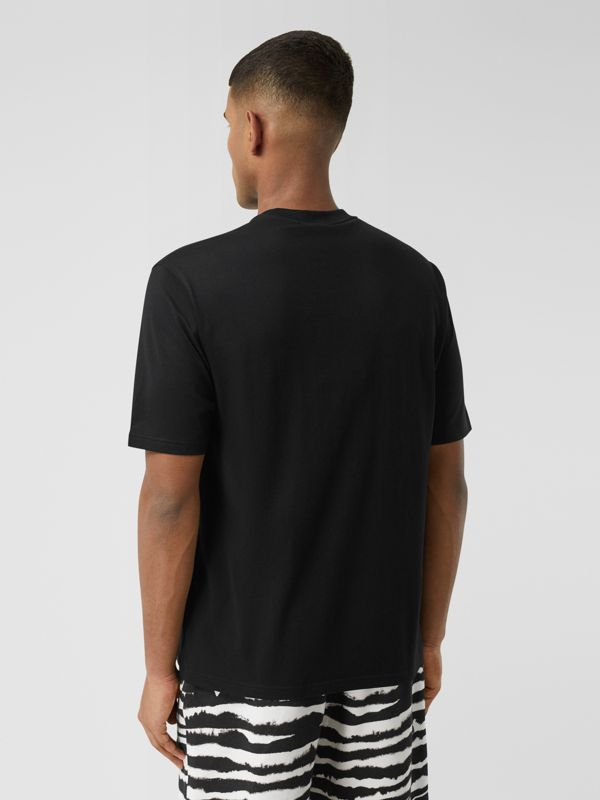 Logo Print Cotton T-shirt in Black - Men | Burberry - cell image 2