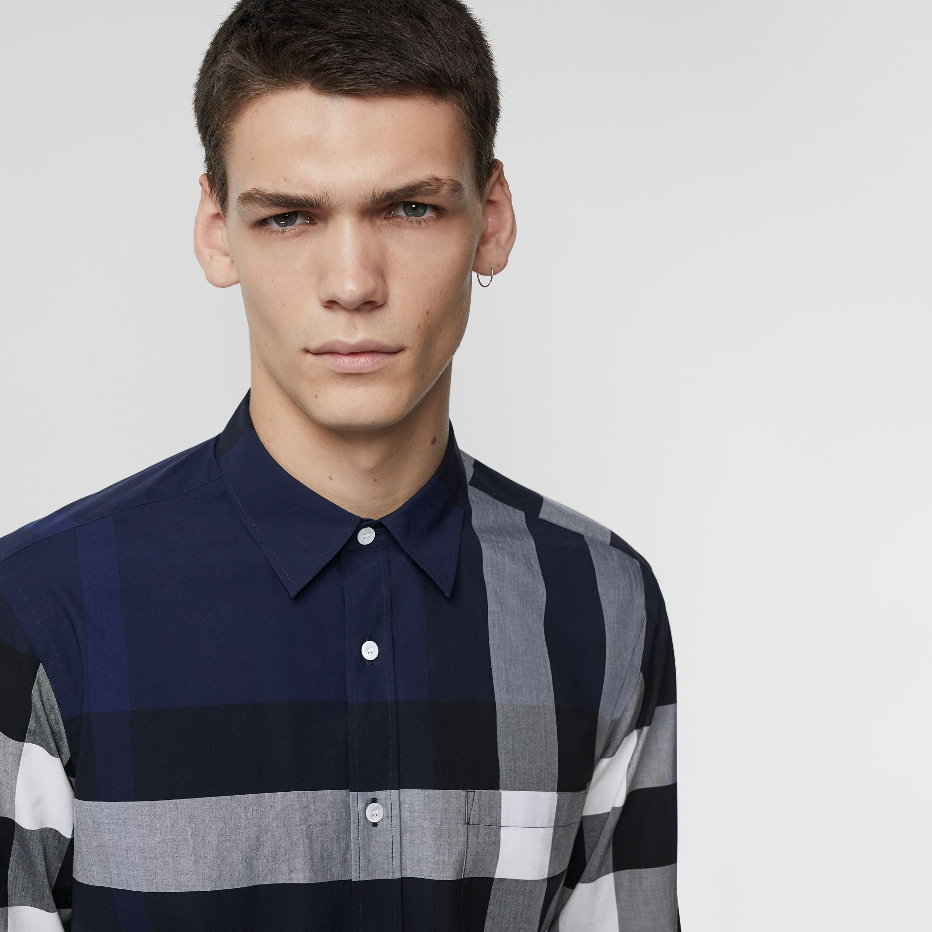 Check Stretch Cotton Shirt in Indigo Blue - Men | Burberry United Kingdom - gallery image 1