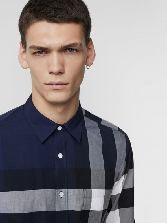 Check Stretch Cotton Shirt in Indigo Blue - Men | Burberry Hong Kong - cell image 1