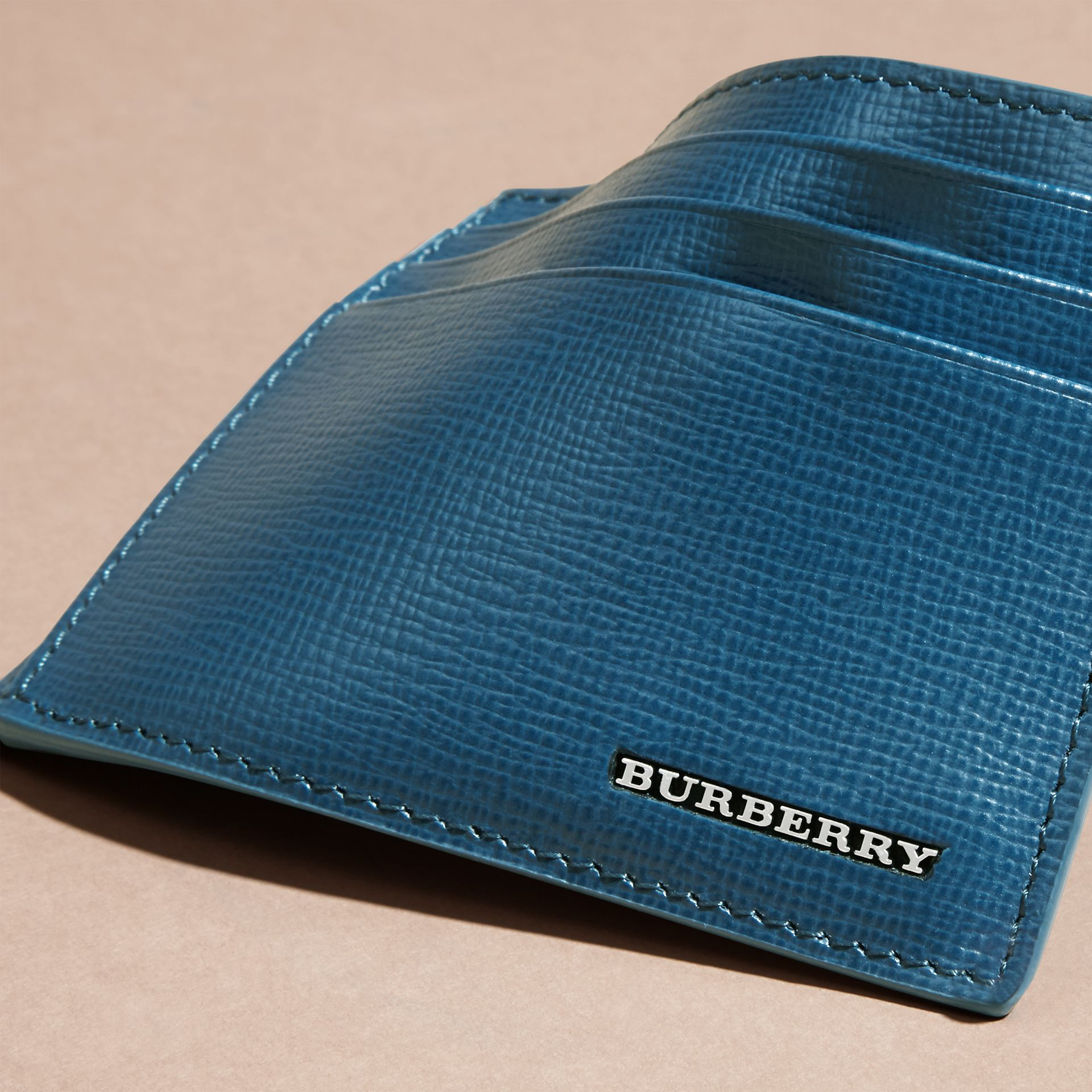Mineral blue London Leather Card Case Mineral Blue - gallery image 6