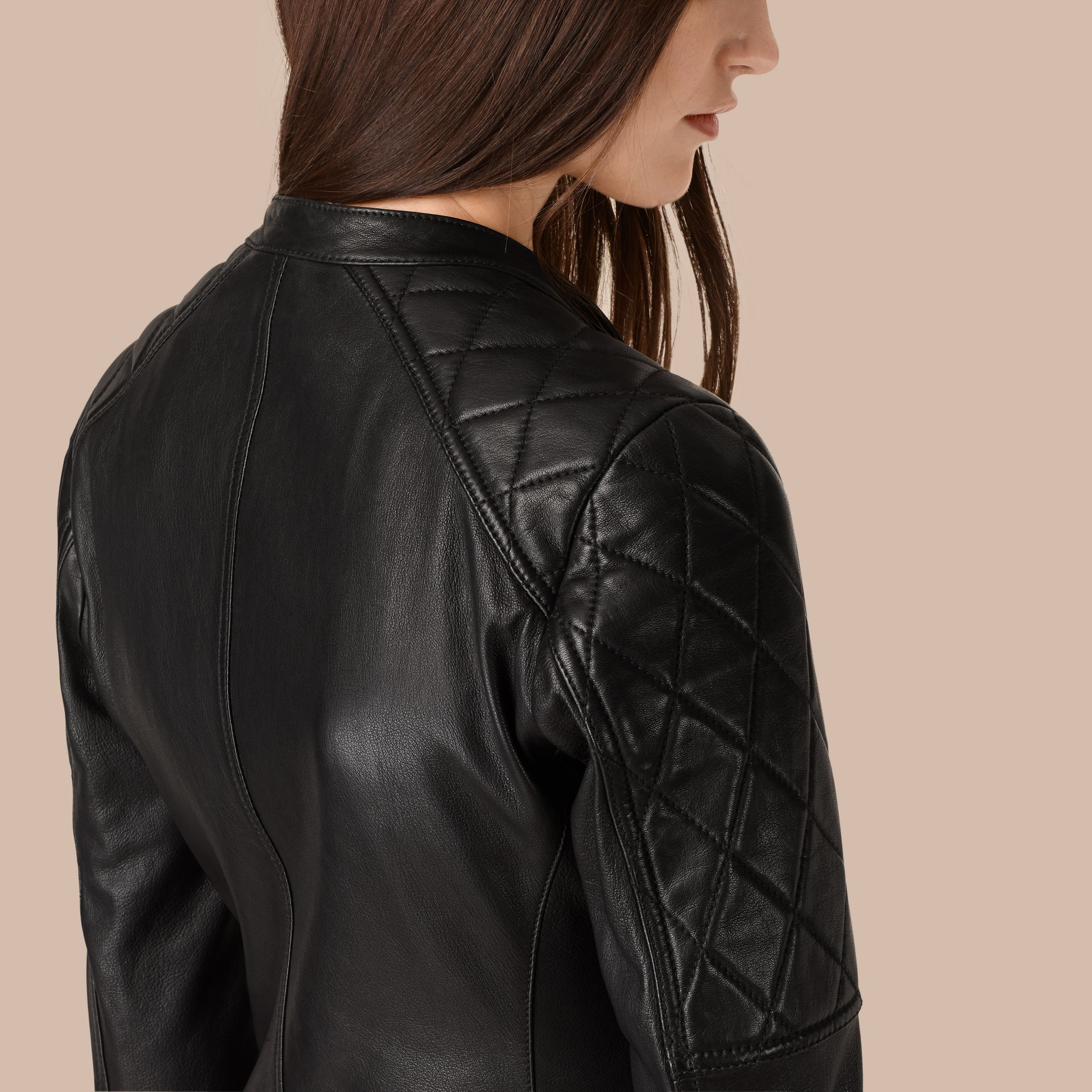 Black Panel Detail Lambskin Biker Jacket - gallery image 6