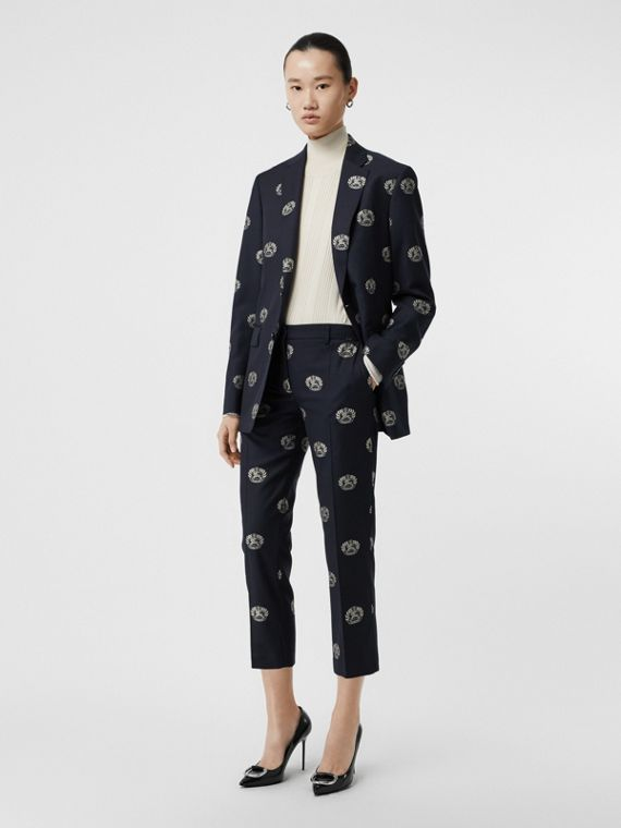 Crest Detail Wool Cropped Tailored Trousers in Midnight Blue