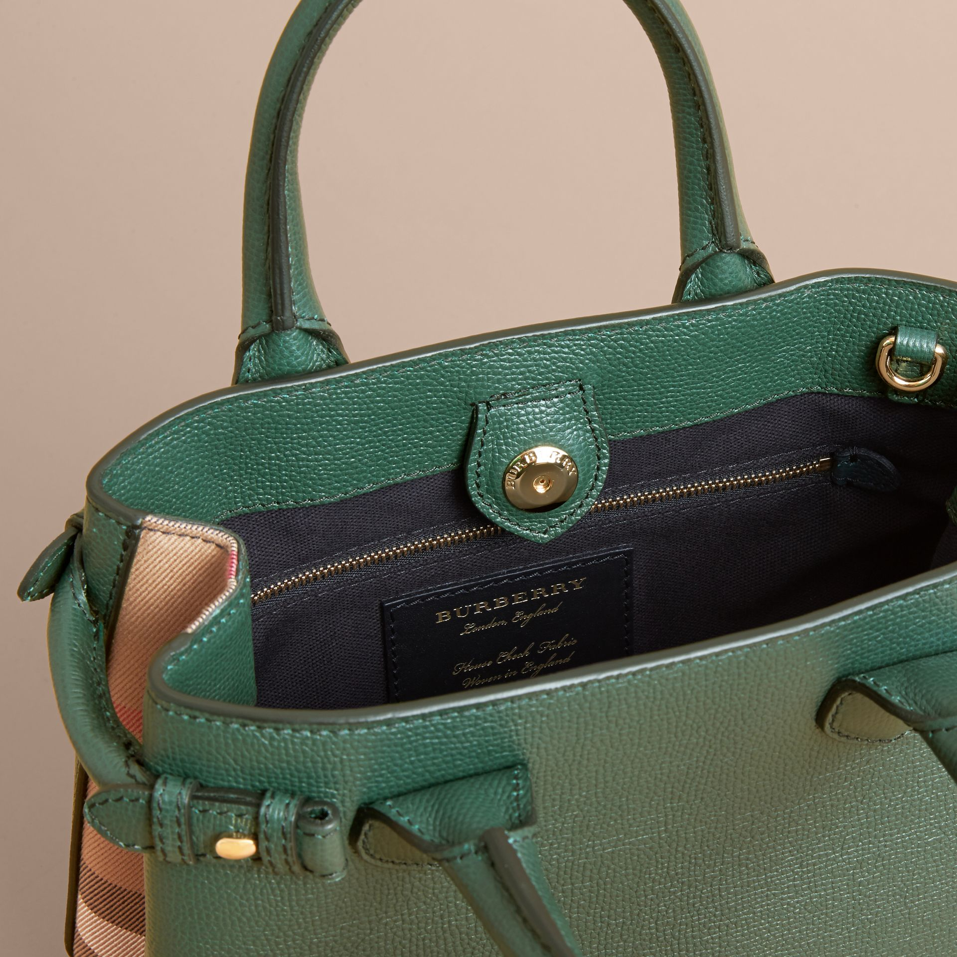The Small Banner in Leather and House Check in Dark Bottle Green - Women | Burberry - gallery image 5