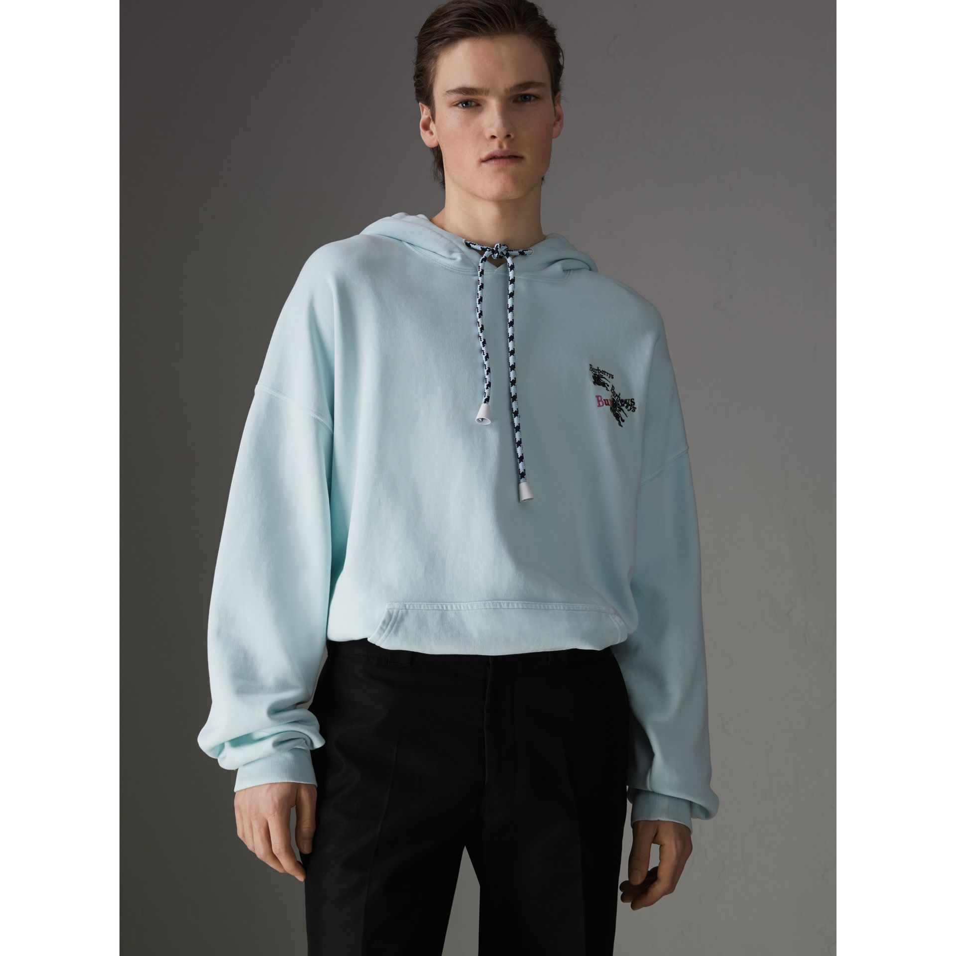 Equestrian Logo Embroidery Cotton Oversized Hoodie in Pearl Blue - Men | Burberry - gallery image 6