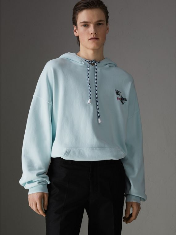 Equestrian Logo Embroidery Cotton Oversized Hoodie in Pearl Blue