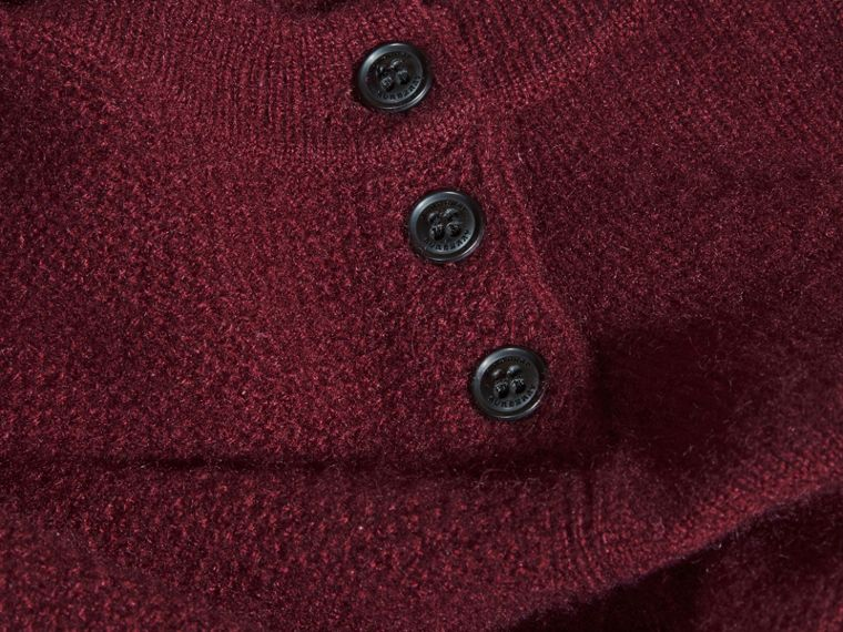 Check Detail Cashmere Dress in Mahogany Red - cell image 1
