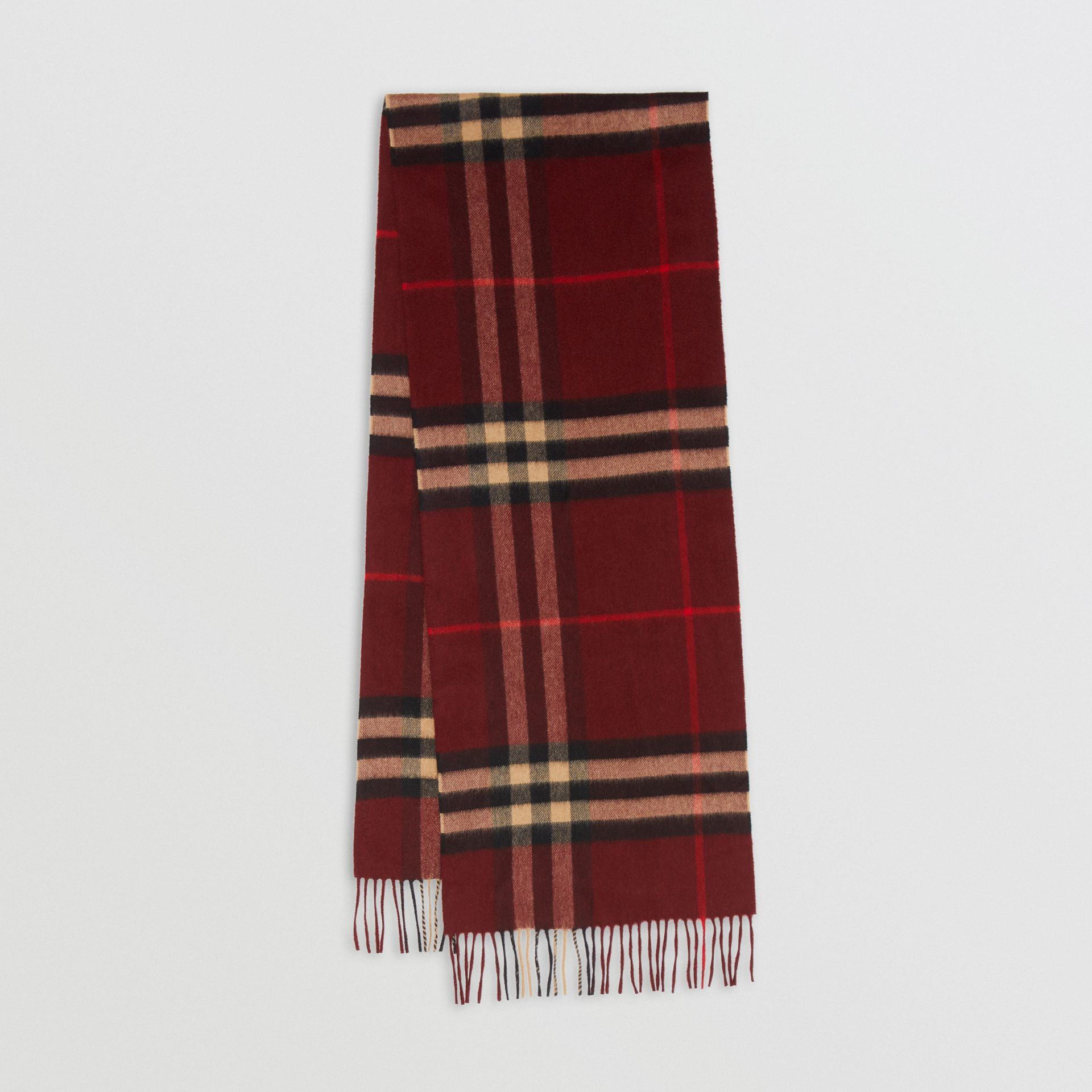 The Classic Check Cashmere Scarf in Claret | Burberry Australia - gallery image 0