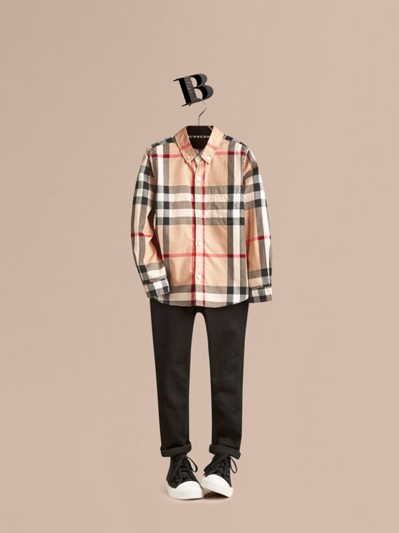 Check Cotton Button-Down Shirt in New Classic