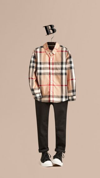 Check Cotton Button-Down Shirt