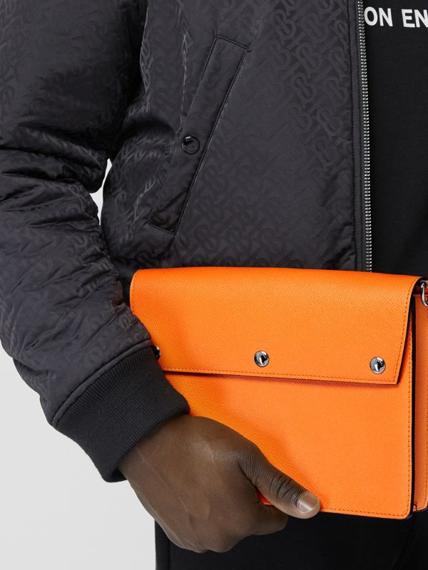 Triple Stud Grainy Leather Crossbody Bag in Bright Orange - Men | Burberry - cell image 2