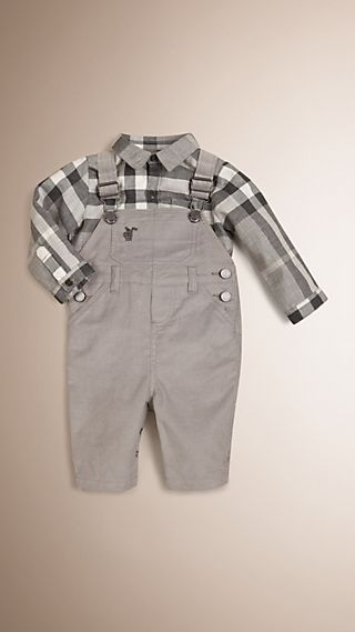 Check Detail Cotton Dungarees