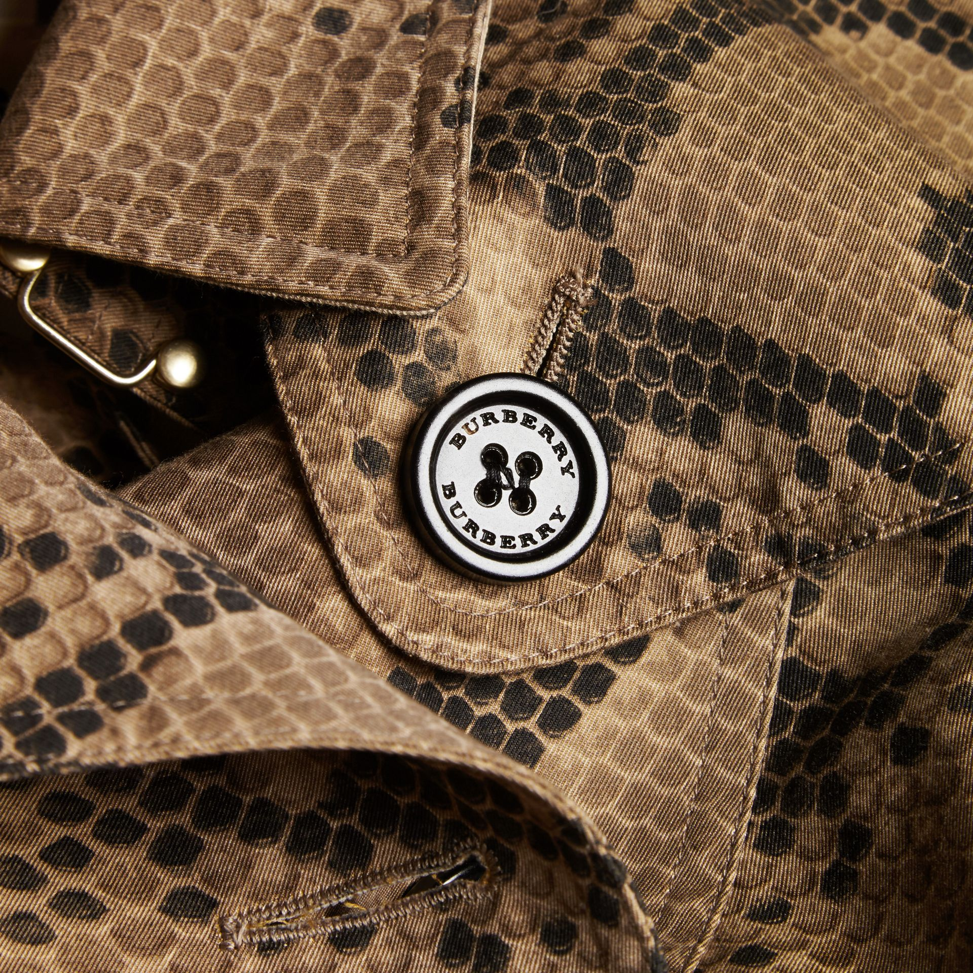 Honey/black Python Print Cotton Trench Coat - gallery image 2