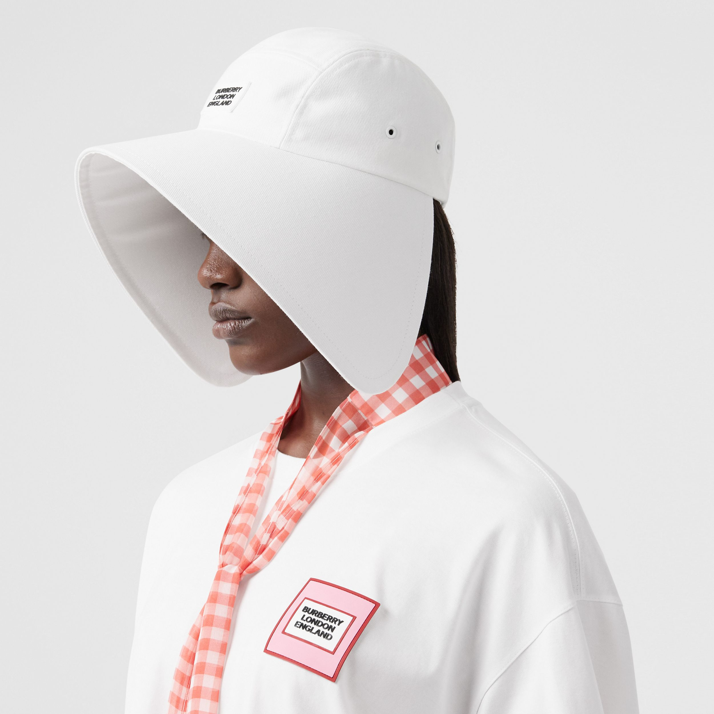 Logo Appliqué Cotton Bonnet Cap in Optic White | Burberry Singapore - 3