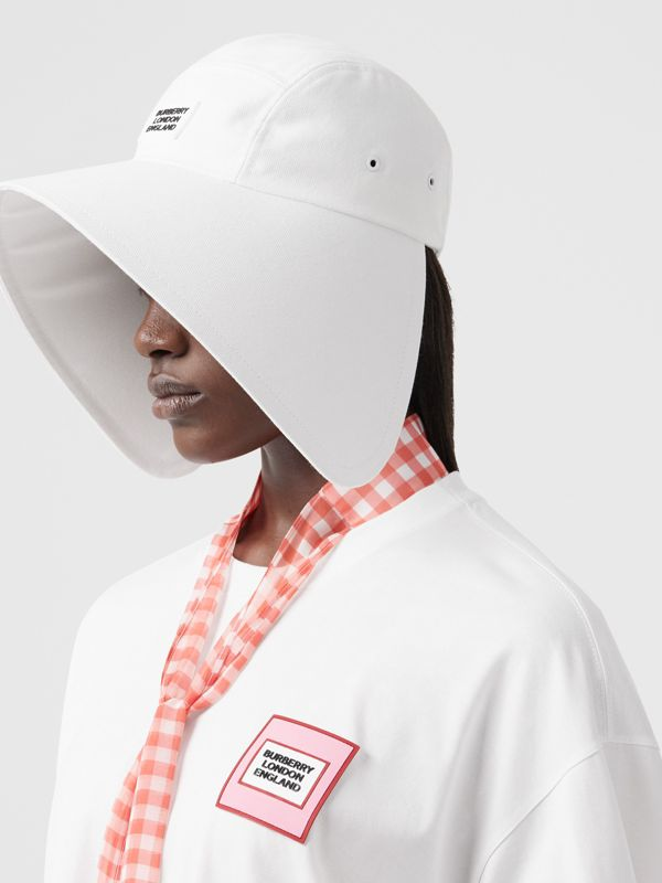 Logo Appliqué Cotton Bonnet Cap in Optic White | Burberry United States - cell image 2