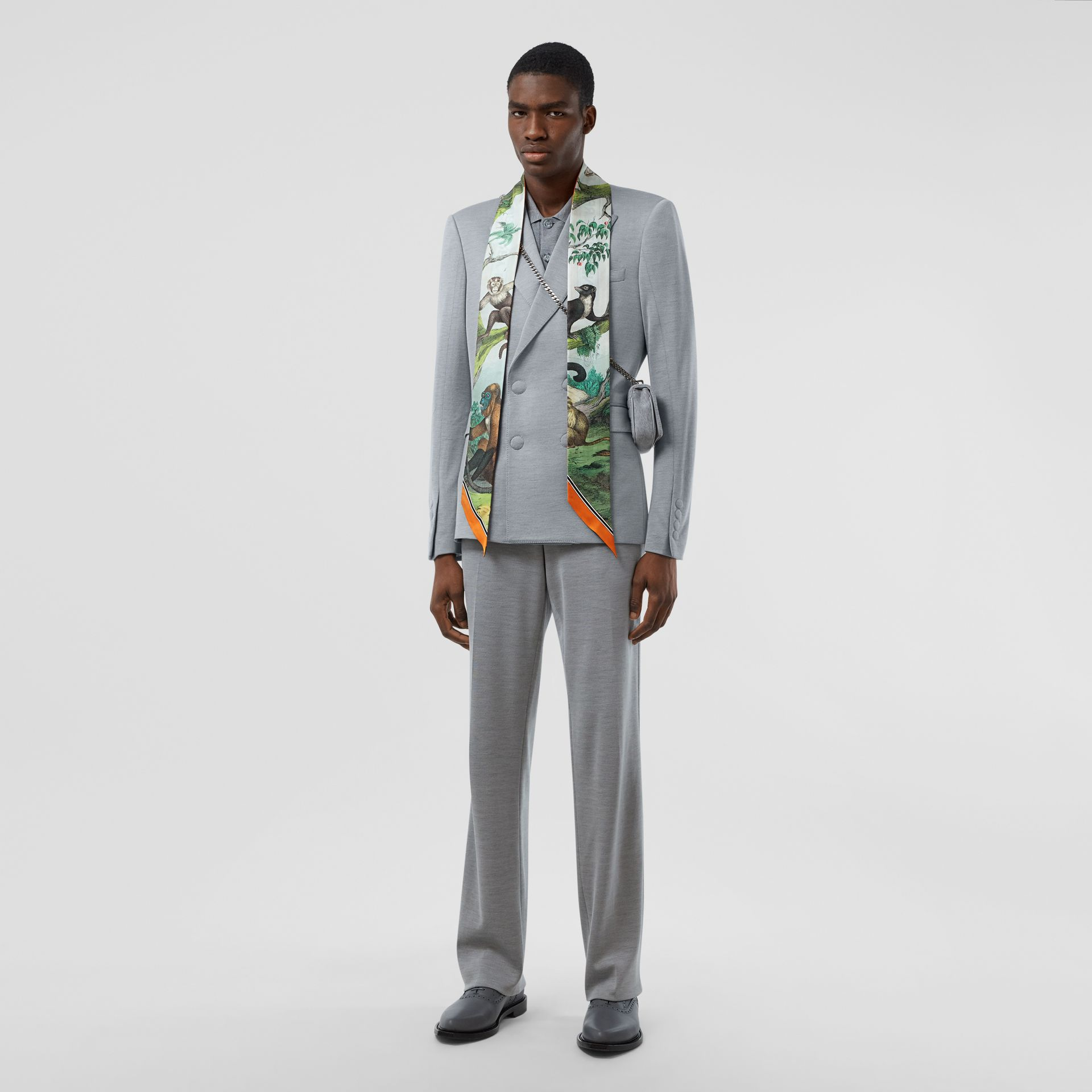 Monkey Print Silk Skinny Scarf in Light Opal Green | Burberry United States - gallery image 7