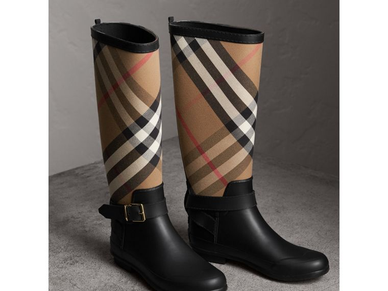 Belt Detail Check and Rubber Rain Boots in House Check/black - Women | Burberry Canada - cell image 4