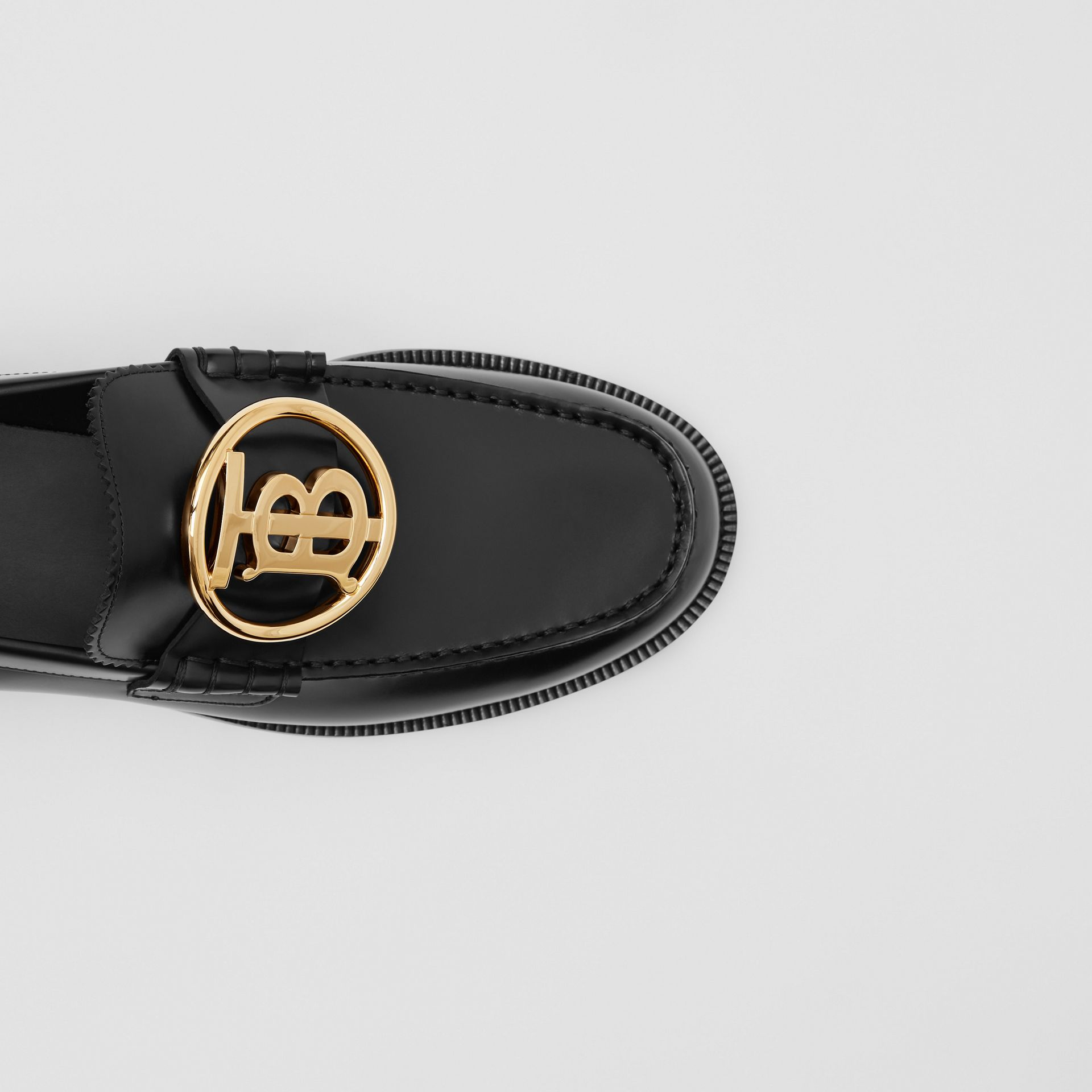 Monogram Motif Leather Loafers in Black - Men | Burberry - gallery image 1