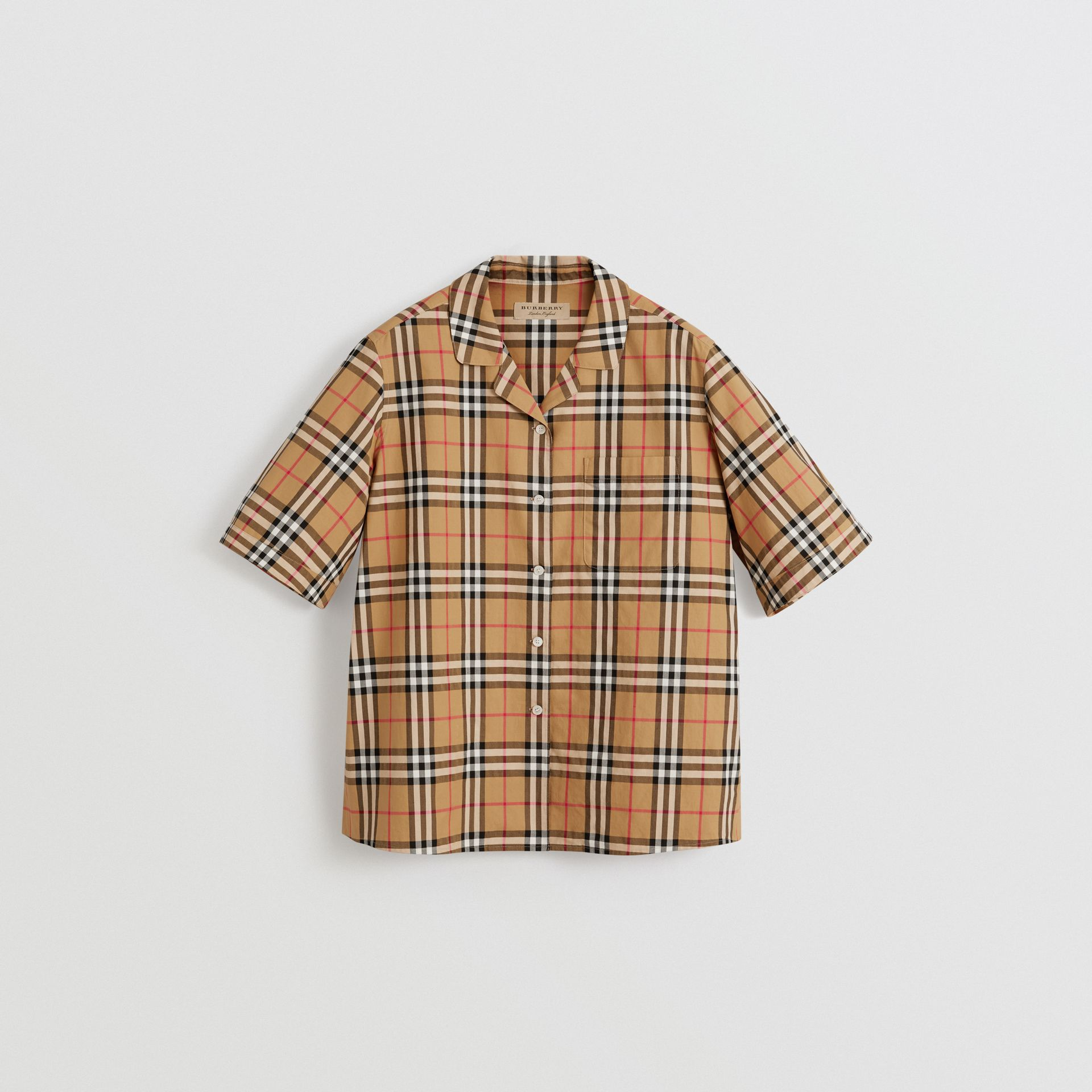 Short-sleeve Vintage Check Shirt in Antique Yellow - Women | Burberry Canada - gallery image 3