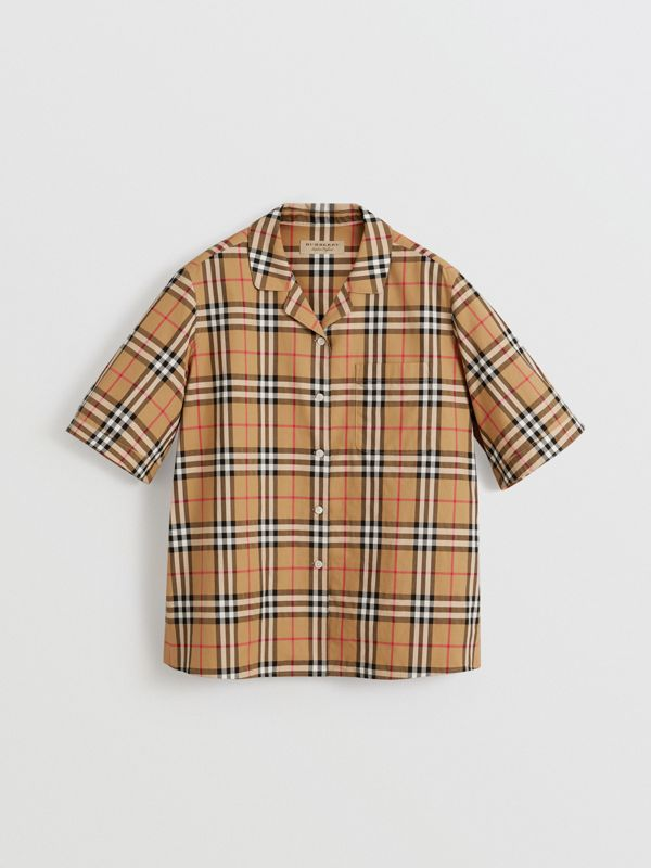 Short-sleeve Vintage Check Shirt in Antique Yellow - Women | Burberry Canada - cell image 3