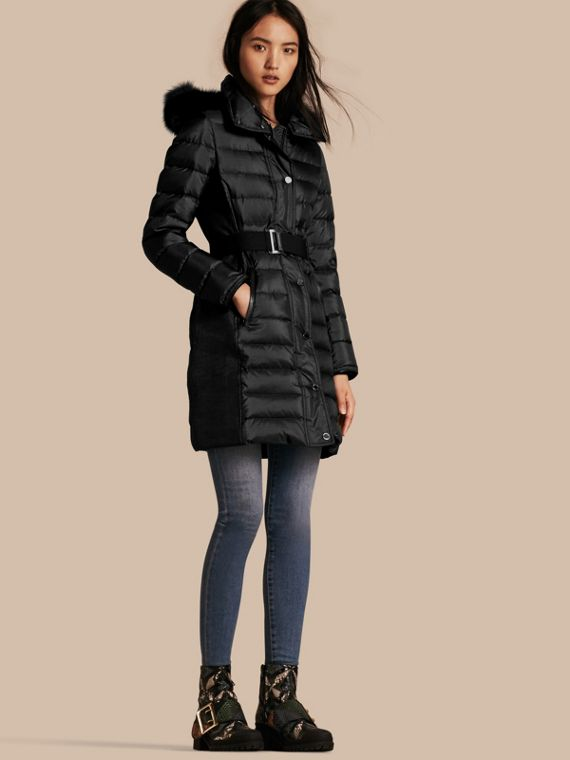 Down-filled Coat with Fur-trimmed Hood Black