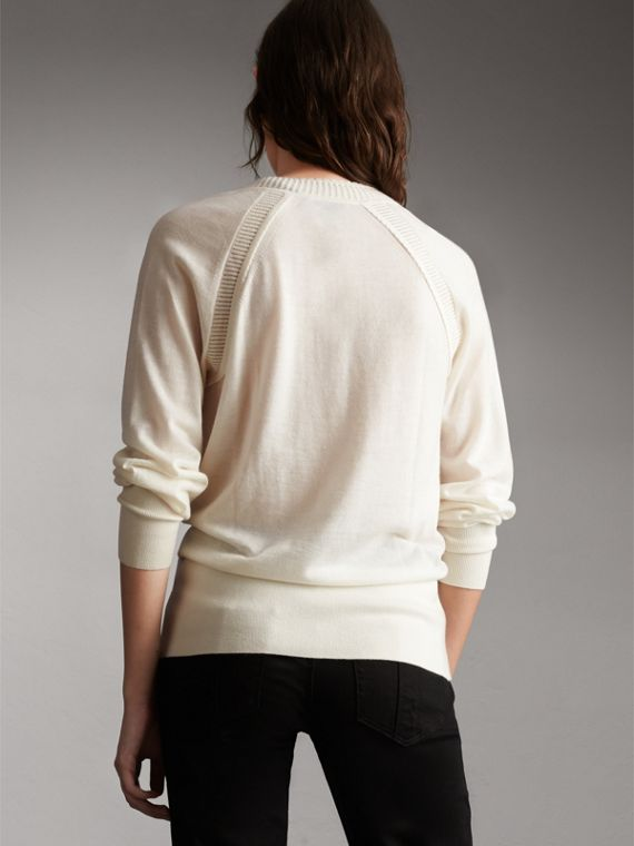 Open-knit Detail Cashmere Cardigan in Natural White - Women | Burberry - cell image 2