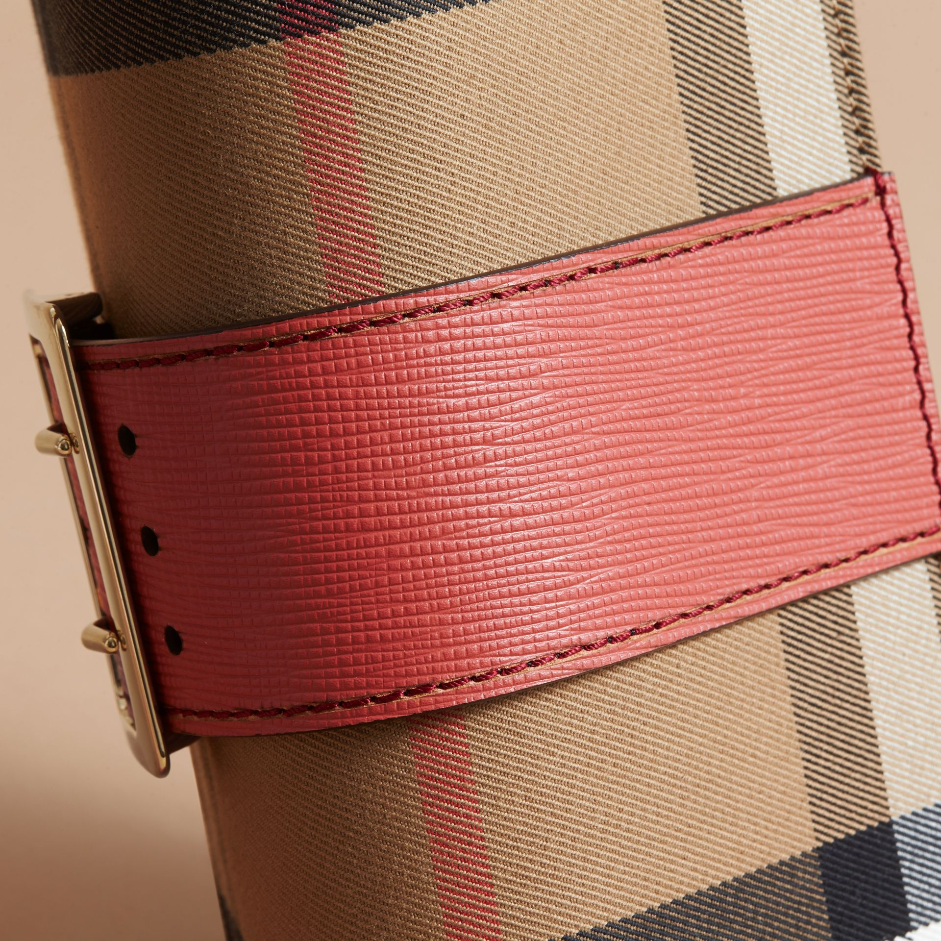 The Small Buckle Bag in House Check and Leather in Cinnamon Red - Women | Burberry Singapore - gallery image 6