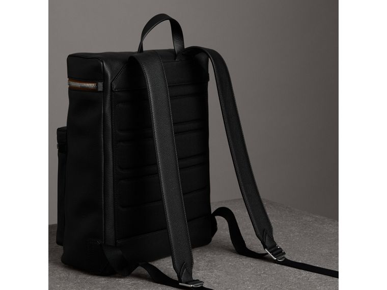 Zip-top Leather Backpack in Black - Men | Burberry - cell image 4