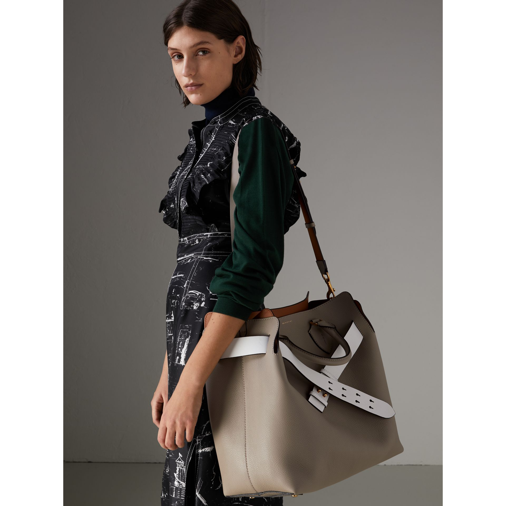 The Large Leather Belt Bag in Mineral Grey | Burberry Australia - gallery image 6